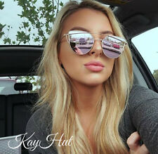 Rose Gold and Pink Reflection Cat Eye Beach Fashion Sunglasses for Spring Summer