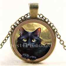 Vintage Black Cat Photo Cabochon Glass Bronze Chain Pendant  Necklace