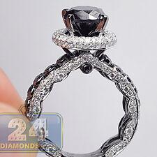 14K White Gold 5.21 ct Black Round Diamond Womens Solitaire Engagement Ring
