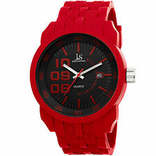 New Men's Joshua & Sons JS63RD Sport Quartz Date Red Silicone Strap Watch