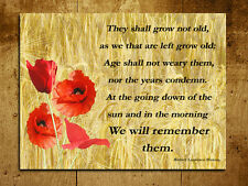 Metal Sign A4 size Remembrance poem poppy Inspirational wall door art plaque