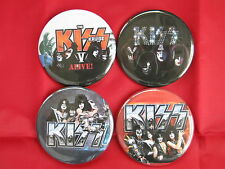 KISS Rock Band  Four 2.25 Inch PINS BUTTONS BADGES NEW Gene ACE Peter Paul
