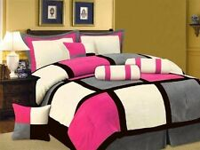7 Piece Pink Black White Bed in a Bag Micro Suede Queen Comforter Set