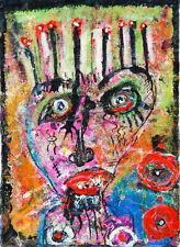 "Louis Vuittonet Original Painting Oil Mixed Media on Paper 5"" x 7"""