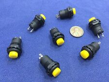 6 Pieces Yellow small N/O Momentary 12mm push button Switch round 12v on off C2