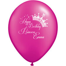 "50 Personalised Balloons - 12"" happy birthday princess Helium Quality Latex"