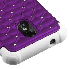 Samsung Galaxy S2 4G Hybrid Spot Diamond Lattice Case Skin Cover Purple White