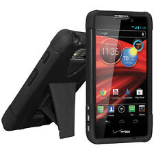 Amzer Soft + Hard Dual Layer Kickstand Case For DROID RAZR MAXX HD XT926 - Black