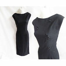 Vintage 50s Dress Size M Little Black LBD Cocktail Linen Wiggle Sleeveless 60s
