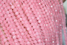 """Pretty Natural 4mm Rose Quartz Gemstone Pink Faceted Round Loose Beads 15"""""""