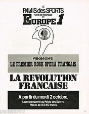 PUBLICITE ADVERTISING 055  1973  EUROPE 1 radio 1° ROCK-OPERA  REVOLUTION FRANCA