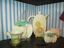 CLARICE CLIFF BIZZARE WARE 16 PIECE TEA SET !! SHAPE IS BONJOUR PATTERN AUREA !!