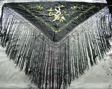 ANTIQUE BEAUTIFUL CHINESE HAND EMBROIDERED SILK PIANO SHAWL PS18