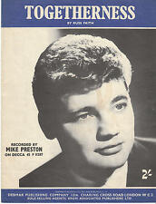 Togetherness - Mike Preston - 1960 Sheet Music