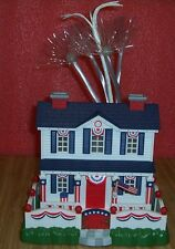 Vintage 2003 Avon Patriotic Lighted Fiber Optic House Village Christmas 4th July