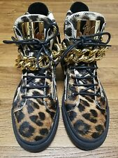 Giuseppe Zanotti Leopard Print Hi-top Sneakers With Chain Men's size 10.5