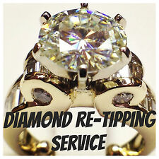 Diamond Re-Tipping Services Gold Silver Platinum included 6 tips around diamond