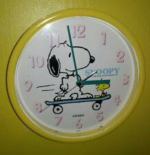 VINTAGE 1965 PEANUTS SNOOPY & WOODSTOCK SKATEBOARDING YELLOW CITIZEN WALL CLOCK