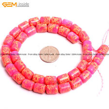 "GEM-inside 8x12mm Tube Crazy Lace Agate Onyx Loose Beads 15"" Dyed Rose Pink"