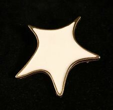 Vintage Castlecliff Cream Enamel Star Gold Tone Pin Brooch