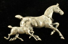 """VINTAGE SILVER TONE GALLOPING HORSE & COLT NICE DETAIL PIN 2"""""""