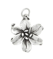 SILVER DOUBLE SIDED LARGE FLOWER LILY CHARM OR PENDANT