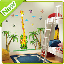 Giraffe Height Chart Wall Stickers Animal Tree Nursery Baby Vinyl Decals Mural