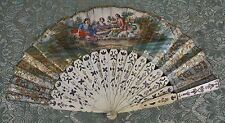 Ab-162. Fan. Carved Sticks. Handpainted Paper. Signed M.N.C. 19Th Century