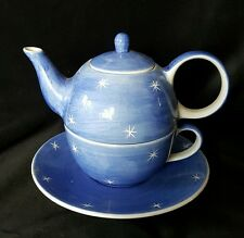 Whittard Tea for One Teapot Cup and Saucer Blue Tea Clipper Stars design