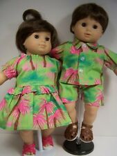 Matching HAWAIIAN Dress Shirt Shorts Doll Clothes For Bitty Baby Twins (Debs)