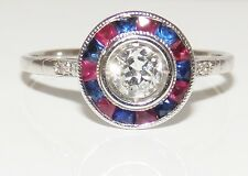 18CT WHITE GOLD 0.35CT DIAMOND RUBY SAPPHIRE HALO  CLUSTER RED WHITE & BLUE RING
