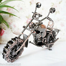 """6""""H Hand Crafted Recycled Metal Art Sculpture Ornament Motorbike - Cross Bike"""