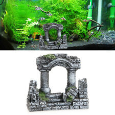 Resin Rome Square Stone Pillars Aquarium Landscaping Fish Tank Decor Bi-Columns