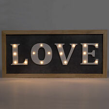 Rustic LED Light Up LOVE Wall Mounted Sign Plaque Word Art Home Decor Metal Wood