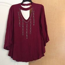 New Maroon Elegant Silver Beaded/sequenced Front Women Top Plus Size 1X