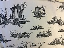 12 METRES BLACK AND CREAM FRENCH TOILE DE JOUY UPHOLSTERY CURTAIN FABRIC