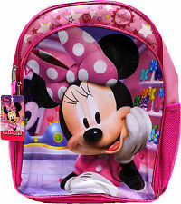 "DISNEY MINNIE MOUSE DESIGN KID'S SCHOOL GIRLY BACKPACK 16"" BAG ZIPPERED POCKET"