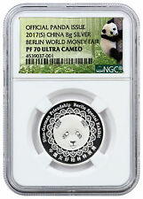 2017 China 8g Silver Berlin World Money Fair Panda NGC PF70 UC (Panda) SKU46302