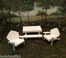 WOOD PICNIC TABLE AND ADIRONDACK CHAIRS SET FOR WEE FOREST FOLK  OR FAIRY GARDEN