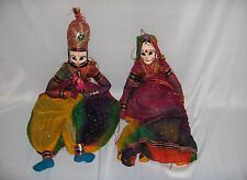 Pair Vintage Cloth Marrionette Puppet Dolls Man Woman Bright Costumes India NICE