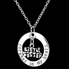 Family'Sister,I Love You Silver Pendant With Heart Gift Necklace Chain Charm