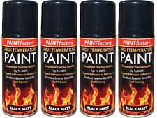 4 x Heat Resistant Matt Black Spray Paint High Temperature Self Priming 200ml