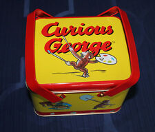 Curious George Metal Tin Lunch Box 1999 Square Tin Two Handles