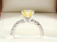 2.70TCW FANCY YELLOW Emerald Brilliant Cut 14k Solid White Gold engagement Ring
