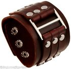GENUINE LEATHER BROWN WRISTBAND WRIST STRAP CUFF BRACELET MENS STEAMPUNK BUCKLE