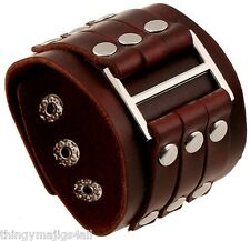GENUINE LEATHER BROWN WRISTBAND WRIST STRAP CUFF BRACELET MENS STEAMPUNK RIVET