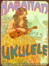 Hawaiian Ukulele Metal Sign, RetroTropical Hula. Vintage Coastal Surf Sea  Decor