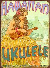 Hawaiian Ukulele Metal Sign, RetroTropical Hula. Vintage Coastal Surf Sea  Decor