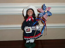 BYERS CHOICE PATRIOTIC GIRL WITH CAKE AND PINWHEEL 4th of July