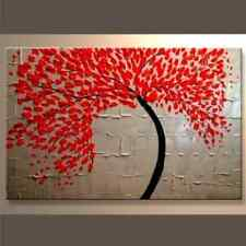 Modern Canvas Wall Art Abstract Oil Painting Framed Big Santin Red Ready to Hang